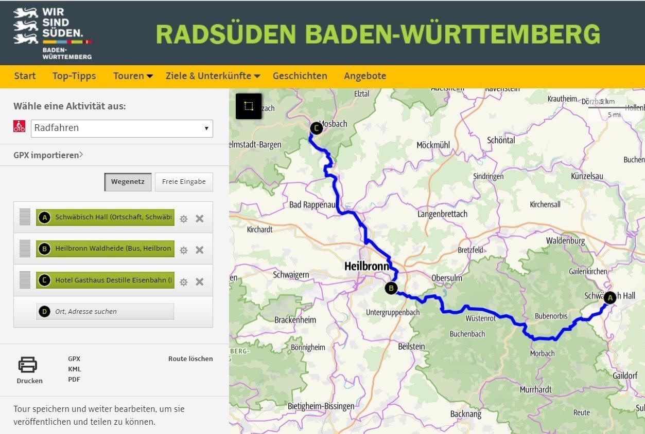 Radtourenplaner Baden-Württemberg - Radroutenplanung online